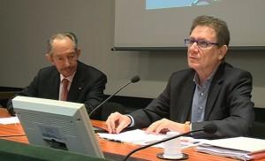 A destra Lucio Caracciolo, direttore di Limes, a sinistra Francesco Verga, presidente di Unindustria Como