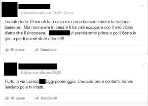 Alcune segnalazioni di furti ad Albate pubblicate su Facebook