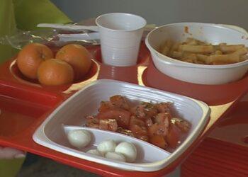 Del cibo della mensa su un vassoio