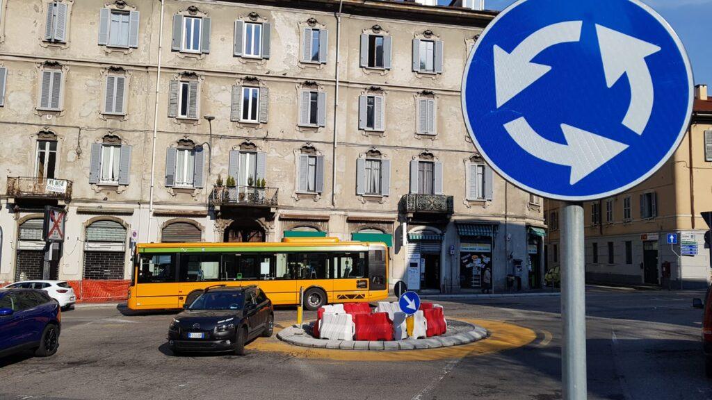 Rotatoria provvisoria in piazza San Rocco Como