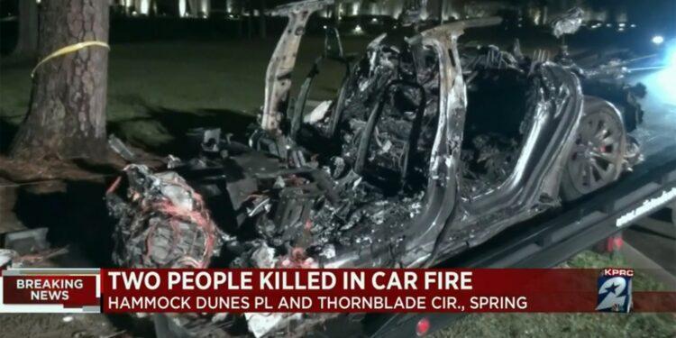 Il veicolo ha preso fuoco dopo essere finito contro un albero