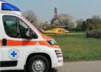 L'ambulanza e l'elisoccorso a Cadorago