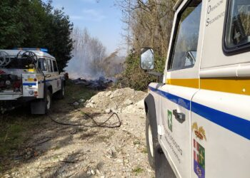 incendio boschivo a Cantù