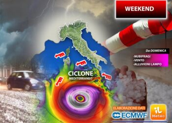 Ciclone mediterraneo in azione già da domenica sera